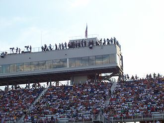 Spotter (auto racing) - Spotters atop the tower at the Milwaukee Mile – 2009