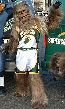 6cfb405c0 Squatch wearing the Sonics  home uniform in 2005