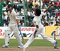 Sreesanth bowling against Australia, October 2010.jpg