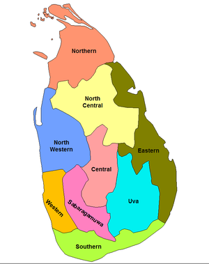 Sri Lankan provincial council elections, 2008–09 - The nine provinces of the country