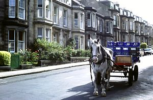 "Sean Connery - An Edinburgh ""Co-op milk cart"" photographed in 1981"