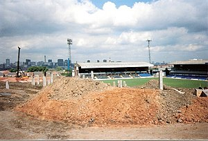St Andrew's (stadium) - The Railway Stand and Main Stand (right) in May 1994, viewed across the site of the demolished Kop.