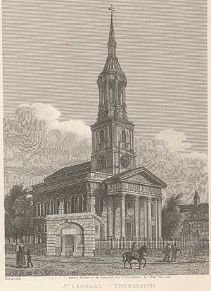 St Leonard's, Shoreditch - 18th century print of St. Leonard's