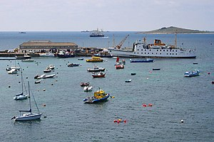 Hugh Town - The Scillonian III berthed at the (former Rat Island) end of the quay