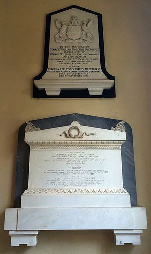 George Coventry, 7th Earl of Coventry - Memorials to Viscount Deerhurst, eldest son of the 9th Earl of Coventry, and the 7th Earl of Coventry (1758–1831) in the church at Croome Court