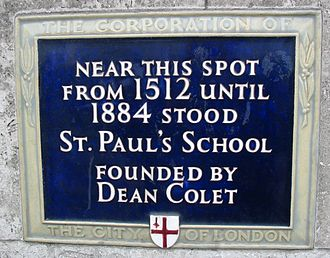 St Paul's School, London - City of London blue plaque