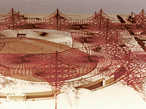 Zayed Sports City Stadium - Model of a sports stadium in Abu Dhabi designed by Jörn-Peter Schmidt-Thomsen and Conrad Roland in the 1960s, which has never been realized.