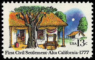 "History of San Jose, California - The 200th anniversary (1977) of the El Pueblo de San José de Guadalupe founding in Las Californias: marked by this Commemorative U.S. postage stamp. Note that ""Alta California"" did not officially exist as a polity until 1804."