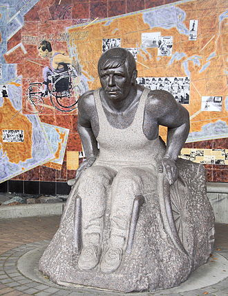 Rick Hansen - Upright  Hansen's statue, in honour of his Man in Motion World Tour, at Rogers Arena in Vancouver, Canada