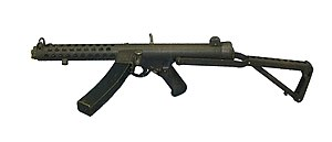 ROF Fazakerley - A Sterling L2A3 (Mark 4) submachine gun. ROF Fazakerley manufactured 164,000 Sterlings between 1956 and 1960, after which production of the weapon ended permanently