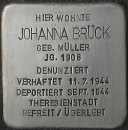 Photo of Johanna Brück brass plaque
