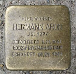 Photo of Hermann Aron brass plaque
