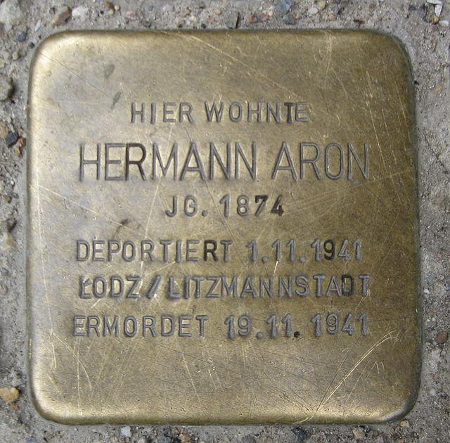 Photo of Hermann Aron brass plaque