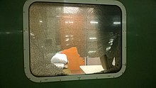 Stone pelting on a train