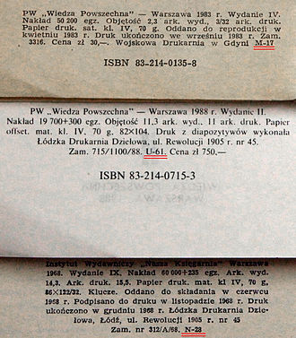 Censorship in Communist Poland - Colophons (imprints) in three books published during Polish People's Republic era. Identifiers of censors are underlined.