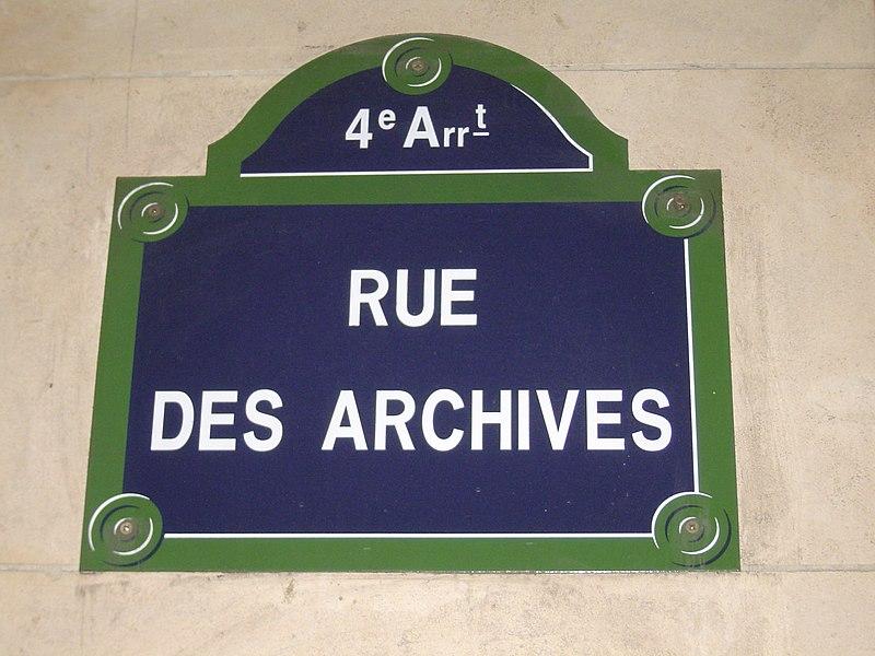 Fichier:Street plate, Rue des Archives, Paris 14 April 2006.jpg