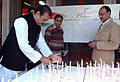 """Subodh Kant Sahai lighting the candle at the launch of the nationwide youth campaign against terrorism """"Together For Peace"""", in New Delhi on December 18, 2008.jpg"""