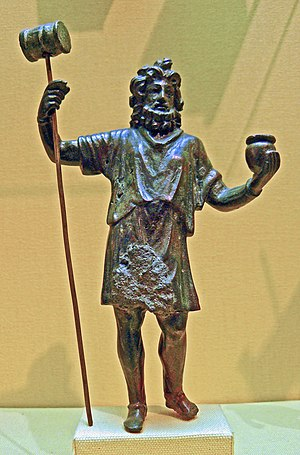Olla (Roman pot) - Gallic mallet god with olla, perhaps Sucellus