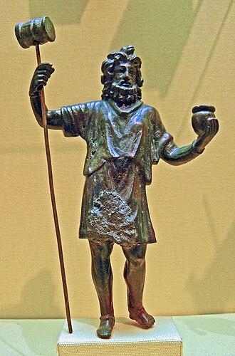 Olla (Roman pot) - Gallic mallet god with olla, perhaps Sucellus