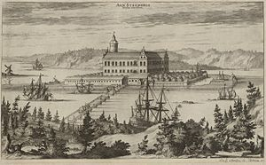 Stegeborg Castle -  Stegeborg Castle in Suecia Antiqua et Hodierna, 1706. The image is not entirely reliable, but these pictures are the only ones depicting how the castle may have looked like before the demolition. The tower is also similar to that which remains today and the proportions are not too implausible.