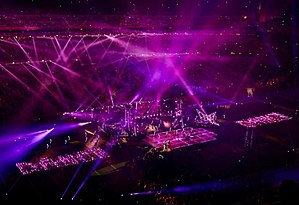 "Super Bowl LI halftime show - A long shot view of the stage during the performance of ""Just Dance"" in the halftime show"
