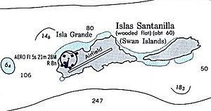 Swan Islands, Honduras - Nautical map of the Swan Islands