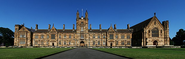 The Main Quadrangle of the University of Sydney, a so-called sandstone university SydneyUniversity MainBuilding Panorama.jpg