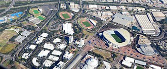 Sydney Olympic Park was built for the 2000 Olympics and has become a major sporting and recreational precinct Sydney Olympic Park (7373562696).jpg
