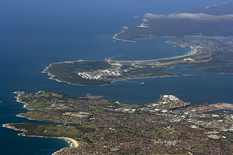 Kurnell, La Perouse, Cronulla, along with various other suburbs face Botany Bay. Sydney aerial view - Kurnell, La Perouse, Cronulla and Botany Bay.jpg