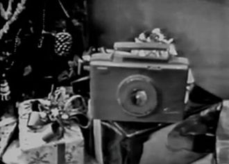 Sylvania Electric Products - Sylvania Skylark portable radio seen in a television commercial from the 1950s.