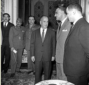 Ziad al-Hariri - A gathering of delegates for the April triparitite unity talks between Egypt, Syria and Iraq. Hariri is third from left and Egyptian president Gamal Abdel Nasser is second from right