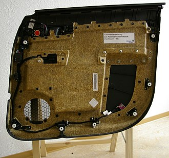 Biocomposite - Interior carpeting of a car's door made by a biocomposite of hemp fibres and polyethylene