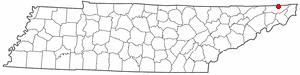 Walnut Hill, Tennessee - Image: TN Map doton Walnut Hill