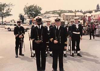 George Somers - The Guard of TS Admiral Somers, the Bermuda Sea Cadet Corps unit of St. George's, Bermuda, parades on Ordnance Island, St. George's.