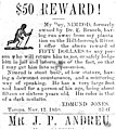 Tampa Newspaper ad offering a reward for the return of Dr. Edmund Jones' slave, Nimrod- Tampa, Florida (5803931389).jpg
