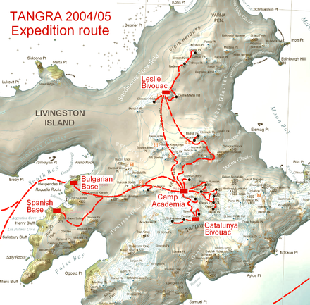 The survey route of Tangra 2004/05 including Radnevo Peak. Tangra-2004-5-Survey-Route.png