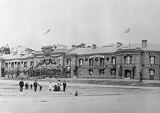 Parliament House, Hobart - Parliament House decorated in 1901 for Australian Federation celebrations.