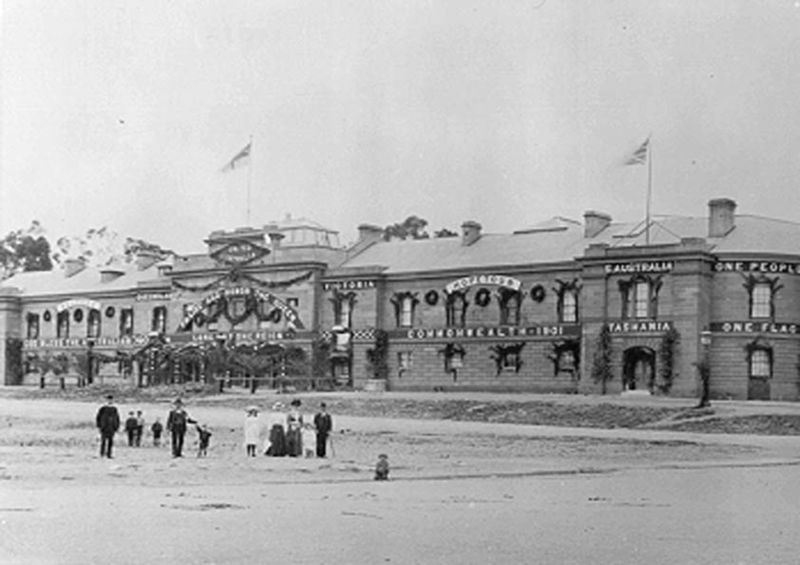 Parliament House decorated in 1901 for Australian Federation celebrations.