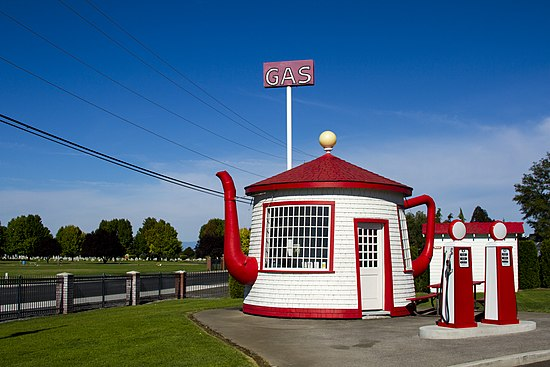 The Teapot Dome Service Station, built in 1922 in Zillah, Washington.