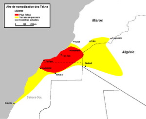 The Tekna country (red) and migration routes (yellow)