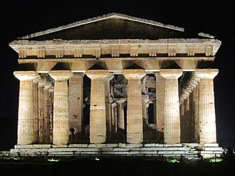 Paestum - Temple of Hera II at night