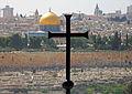 Temple Mount with cross from Dominus Flevit Church window.jpg