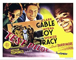 Lobbykaart voor Test Pilot met Spencer Tracy, Clark Gable en Myrna Loy