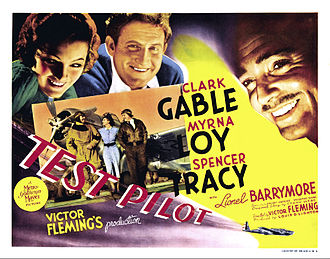 Clark Gable - Lobby card for Test Pilot with Loy and Tracy