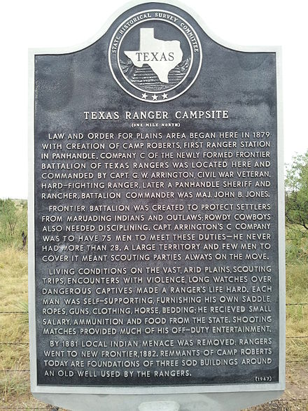 Texas Historical Marker for Texas Ranger Camp Roberts in Blanco Canyon Texas Historical Marker for the Roberts Camp in Blanco Canyon.jpg