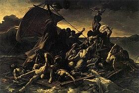Géricault: Le Radeau de la Méduse (1819). Ce tableau représente la scène suprême de la perte du navire La Méduse sur le banc de l'île d'Argin, alors que les naufragés, après s'être construit un radeau et lancés en plein océan, aperçoivent au loin le navire sauveur. Pour cette peinture, d'un prodigieux effet dramatique et d'une rare vigueur de touche, Géricault s'inspira des détails que lui donnèrent Corréard et Savigny, deux survivants du drame. (musée du Louvre)