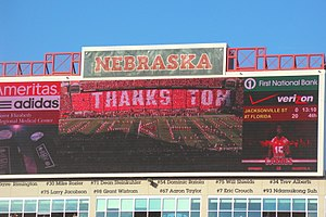 2012 Nebraska Cornhuskers football team - Celebrating Tom Osborne during pre-game