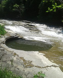"The ""pot that washes itself"" located just south of the Village of Canajoharie on the Canajoharie Creek"