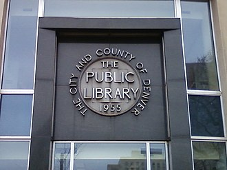Denver Public Library - Nameplate on the Central library's 1955 building
