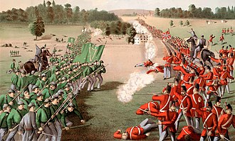 Battle of Ridgeway - An 1869 illustration of the battle: Charge of General O'Neill's Fenians upon the Canadian troops, causing their rout.